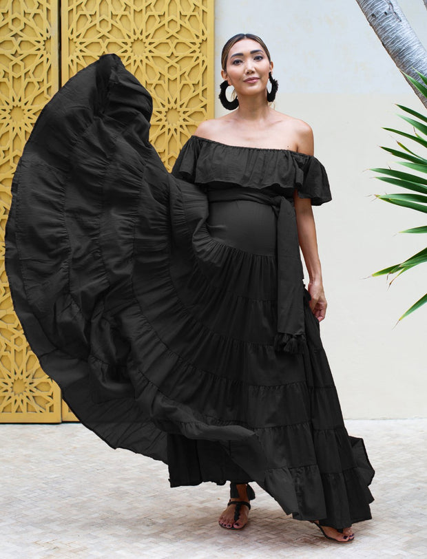 RITA RUMBA MATERNITY MAXI DRESS + RUMBA TASSEL BELT - Erika Peña