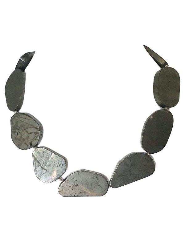 Agama Pyrite Slab Stone Necklace - Erika Peña