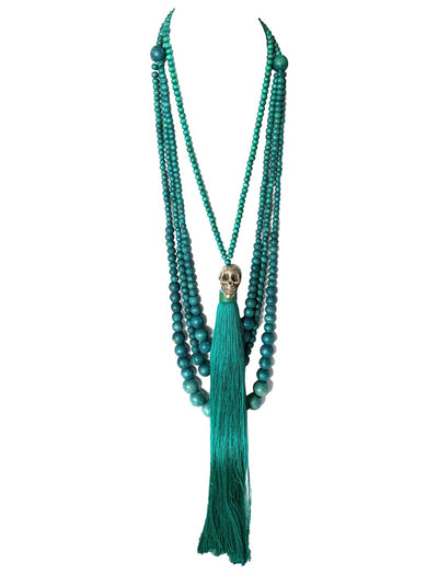 Sans Long Necklace with Caja de Muerto Long Tassel Necklace - Erika Peña