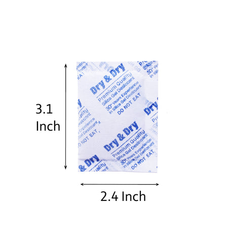 "10 Gram x 2000 PK ""Dry & Dry"" Silica Gel Desiccant Packets - Rechargeable Fabric"
