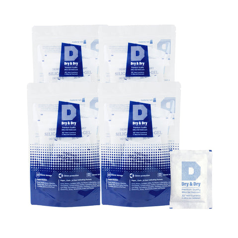 "20 gram X 100 PK ""Dry & Dry"" High Quality Pure Reusable Silica Gel Desiccant"
