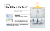 "[60 pack] [Net 14 oz/Pack]  ""Dry & Dry"" Premium Hanging Moisture Absorber to Control Excess Moisture for Basements, Bathrooms, Laundry Rooms, and Enclosed Spaces"