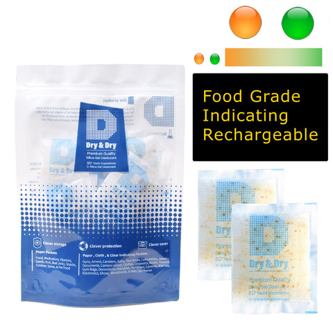 "10 Gram [100 Packs] ""Dry & Dry"" Food Safe Orange Indicating (Orange to Dark Green) Mixed Silica Gel Packets - FDA Compliant"