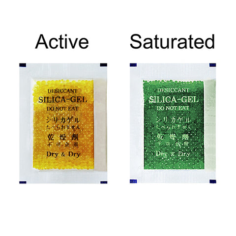 5 Gram Orange Indicating Clear Plastic(PET) Silica Gel Packets - Choose Size & Quantity