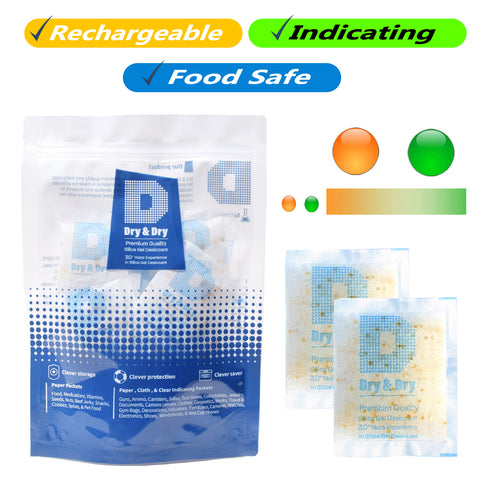 "10 Gram [30 Packs] ""Dry & Dry"" Food Safe Orange Indicating (Orange to Dark Green) Mixed Silica Gel Packets - FDA Compliant"