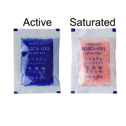 "10 Gram [35 Packs] ""Dry & Dry"" Premium Blue Indicating Silica Gel Packets  - Rechargeable"