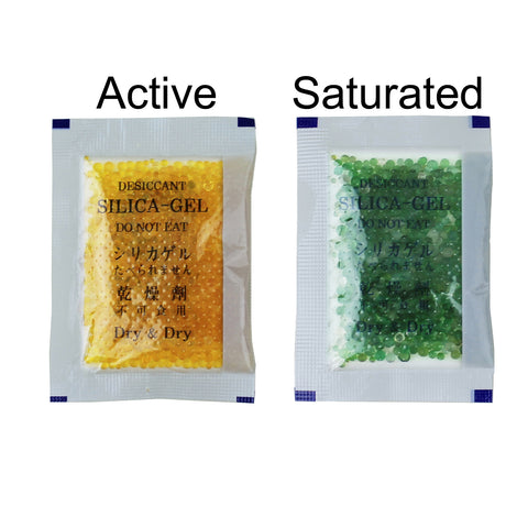 "10 Gram [25 Packs]  Orange ""Dry & Dry"" Premium Indicating(Orange to Dark Green) Silica Gel Packets - RECHARGEABLE"
