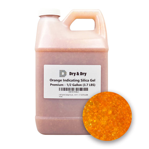 "Half Gallon Orange ""Dry & Dry"" Premium Desiccant Indicating Silica Gel Beads(Industry Standard 2-4 mm) - 3.7 LBS Reusable"
