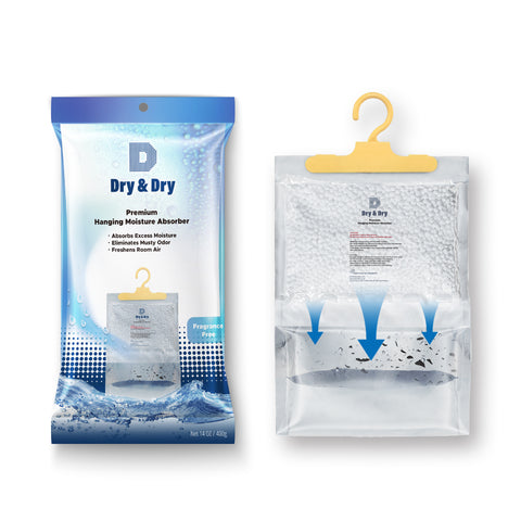 "[18 pack] [Net 14 oz/Pack] ""Dry & Dry"" Premium Hanging Moisture Absorber to Control Excess Moisture for Basements, Bathrooms, Laundry Rooms, and Enclosed Spaces"