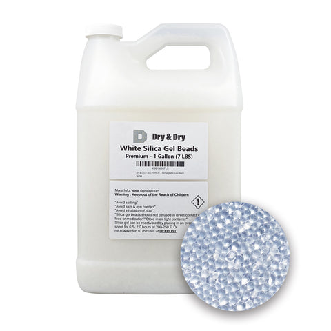 1 Gallon(7 LBS) Premium Pure & Safe White Silica Gel Beads - Rechargeable beads