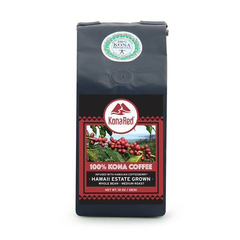 KonaRed® 100% Kona Coffee Infused with Hawaiian Coffeeberry® (1-10oz Bag) - KonaRed.com