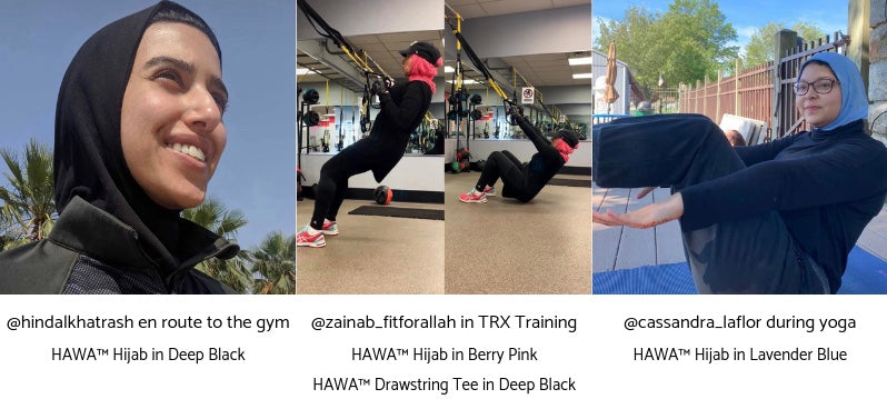 Three women wearing the HAWA Hijab to workout. One is running, one is doing a TRX workout, and one is doing yoga.
