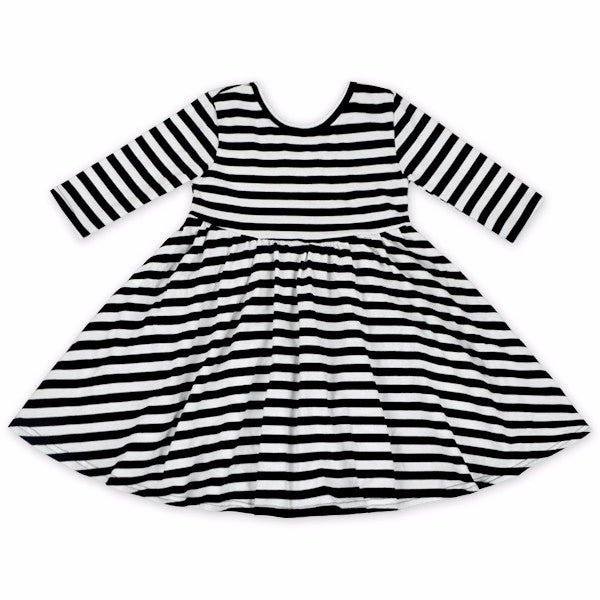 Black & White Stripe Twirl Dress