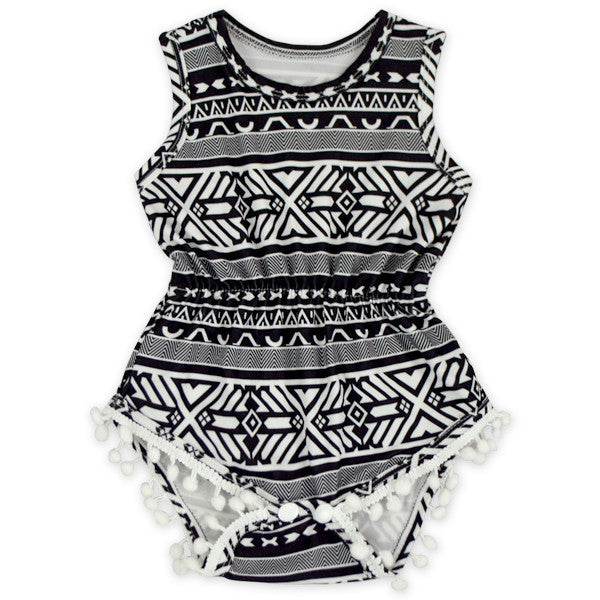 Black and White Aztec Dot Pom Pom Romper