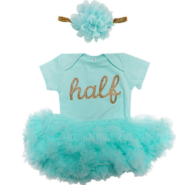 """half"" Tutu Bodysuit and Headband Set in Aqua"