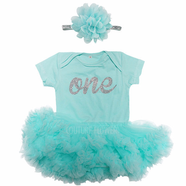 "First Birthday ""one"" Tutu Bodysuit and Headband Set in Aqua"