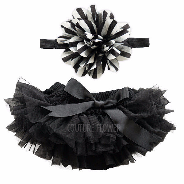 Black and White Stripe Tutu Bloomer & Headband Set