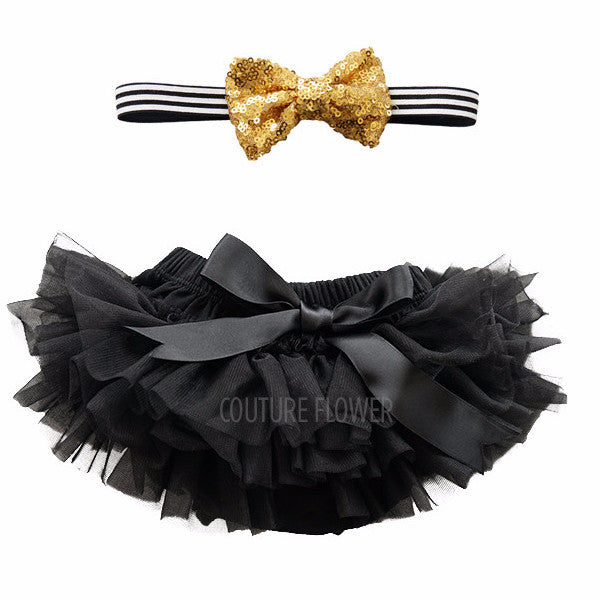 Black and Gold Tutu Bloomer & Headband Set