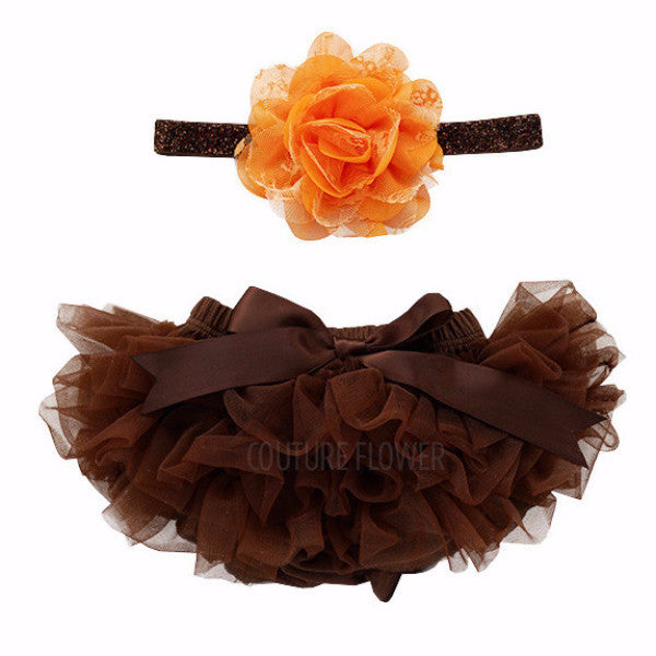 Brown and Orange Tutu Bloomer & Headband Set