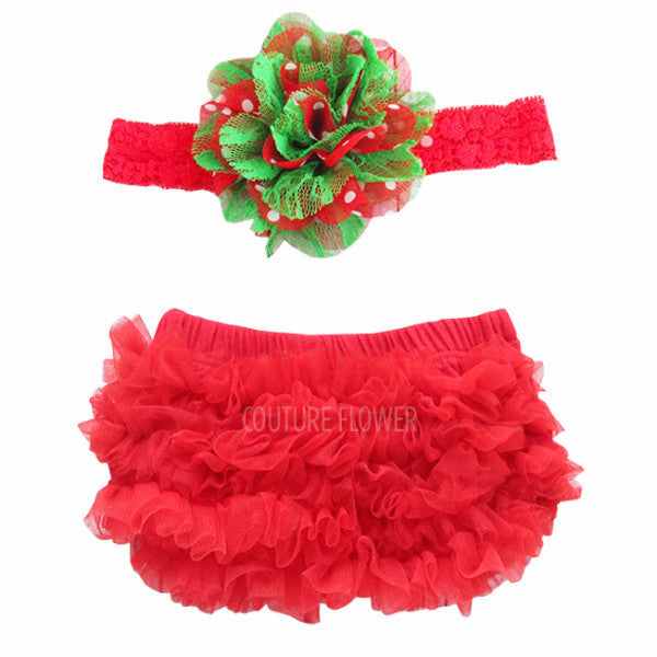 Red Christmas Ruffle Bottom Bloomer & Headband Set