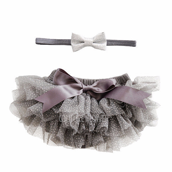 Charcoal and Silver Glitter Tutu Bloomer & Headband Set