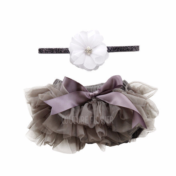Charcoal Tutu Bloomer & Headband Set