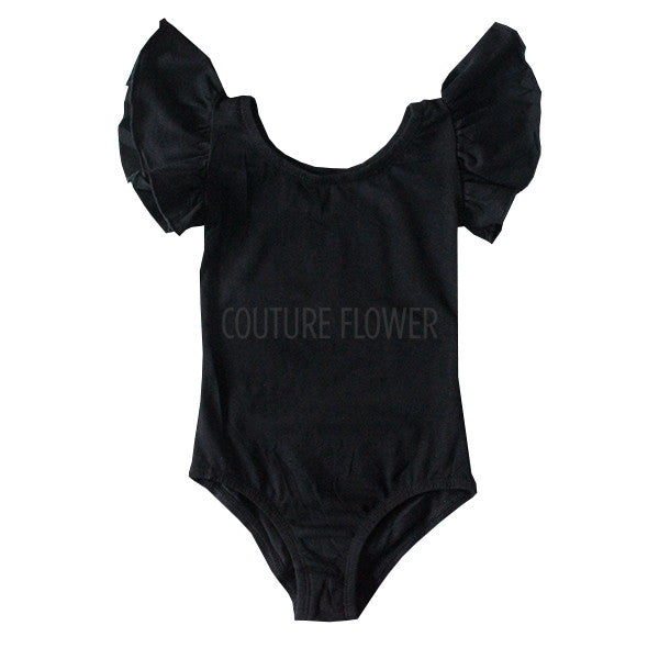 Black Flutter Sleeve Leotard