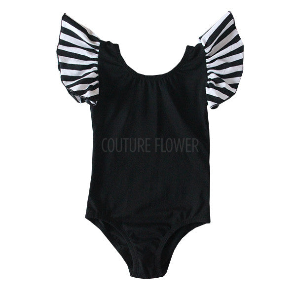 Black & White Flutter Sleeve Leotard