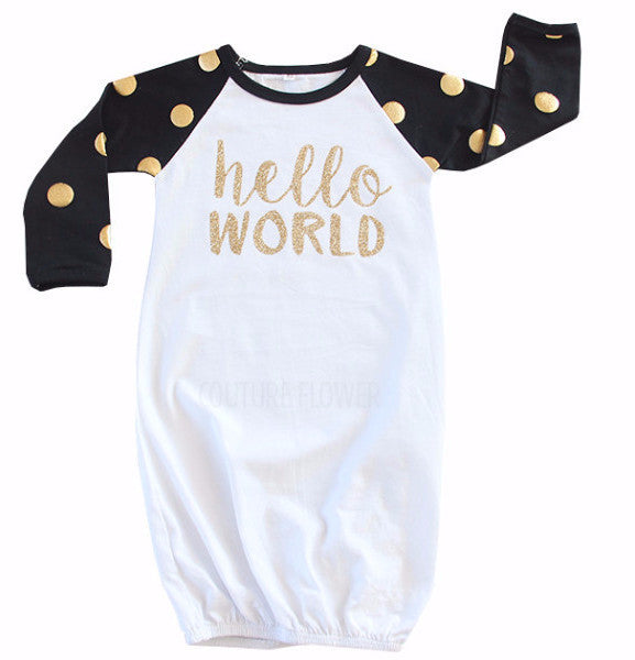 "Black and White Gold Dot ""Hello World"" Gown"