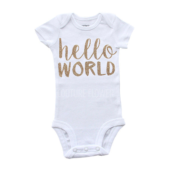"Gold Glitter ""hello world"" Bodysuit"