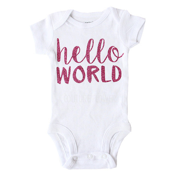 "Hot Pink Glitter ""hello world"" Bodysuit"