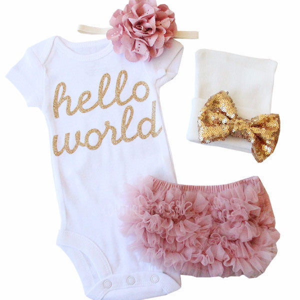 "Baby Girl Bringing Home ""Hello World"" Set"