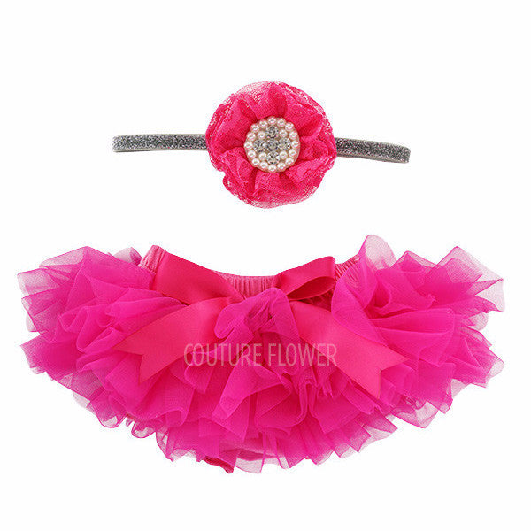 Hot Pink Tutu Bloomer & Headband Set