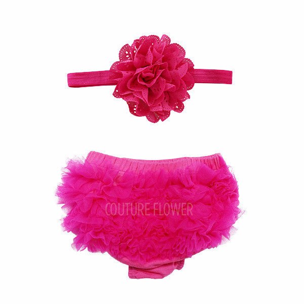 Hot Pink Ruffle Bottom Bloomer & Headband Set