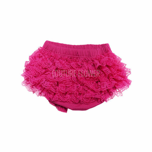Hot Pink Lace Ruffle Bottom Bloomer