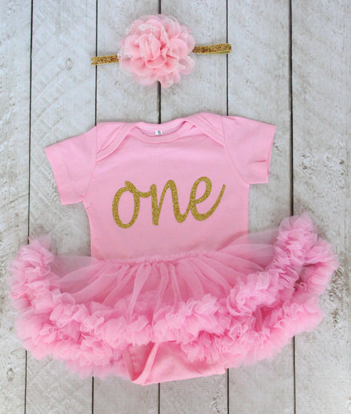 "First Birthday ""One"" Tutu Bodysuit and Headband Set in Pink and Gold Glitter"