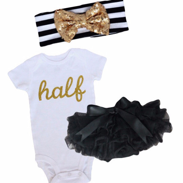 Black and Gold Half Birthday Outfit