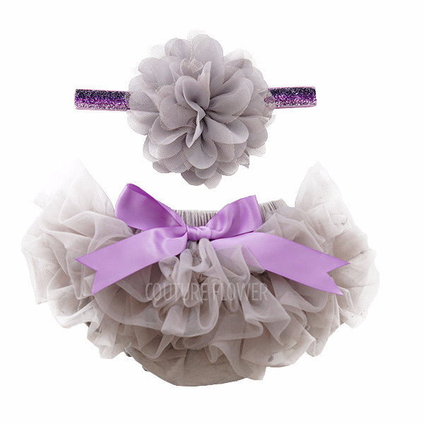 Gray and Lavender Tutu Bloomer & Headband Set