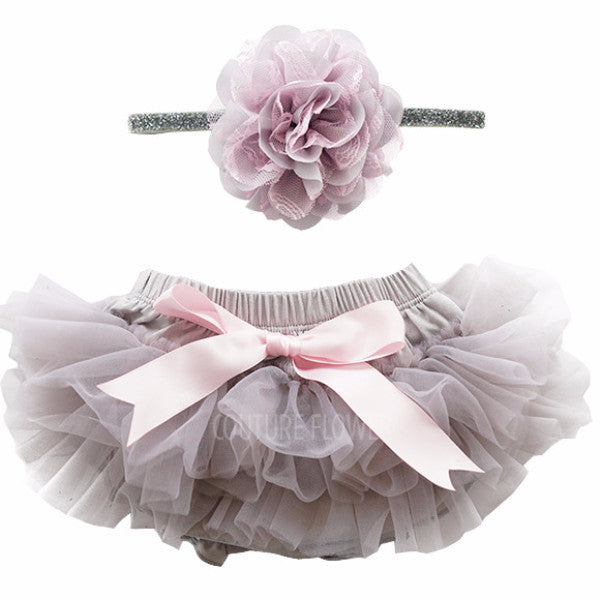 Gray and Pink Tutu Bloomer & Headband Set