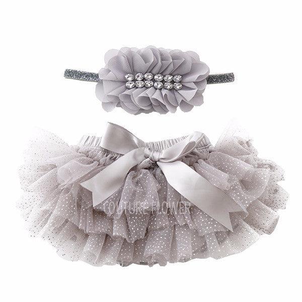 Gray and Silver Glitter Tutu Bloomer & Headband Set