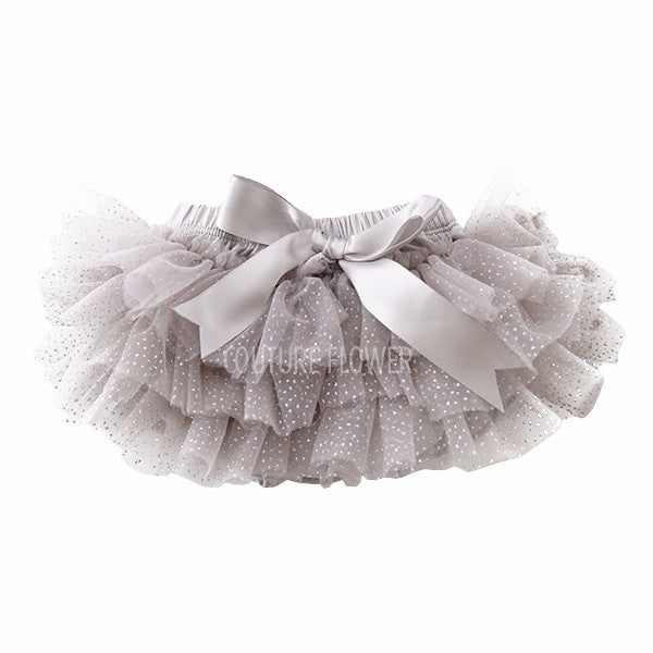 Gray and Silver Glitter Ruffle Tutu Bloomer