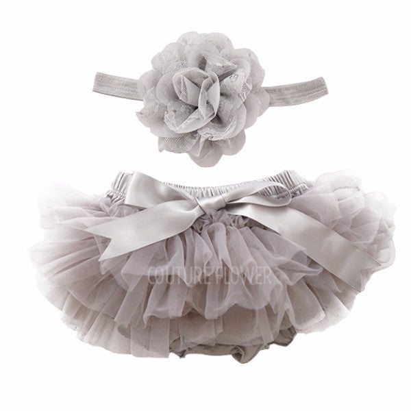 Gray Tutu Bloomer & Headband Set