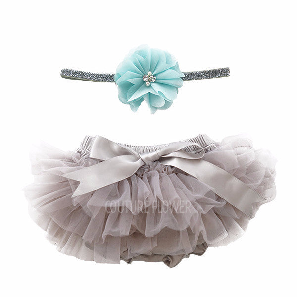 Gray and Aqua Tutu Bloomer & Headband Set