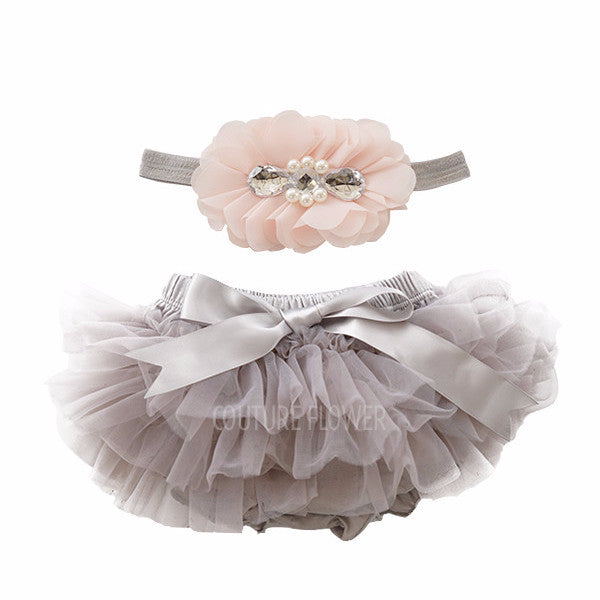 Gray and Peach Tutu Bloomer & Headband Set