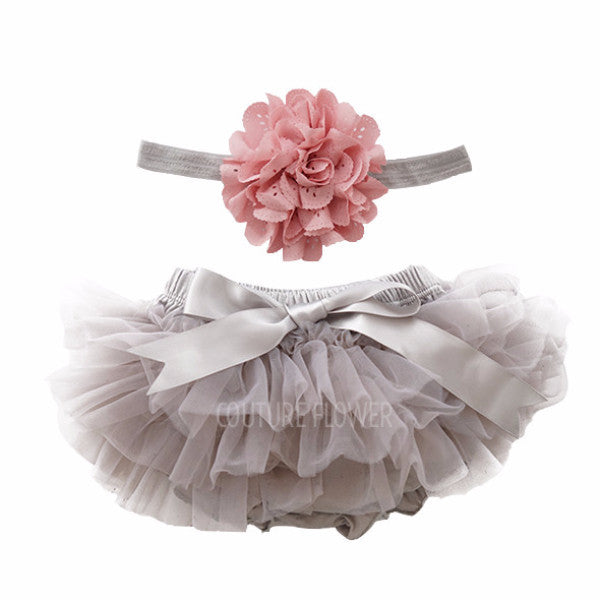 Gray and Mauve Tutu Bloomer & Headband Set
