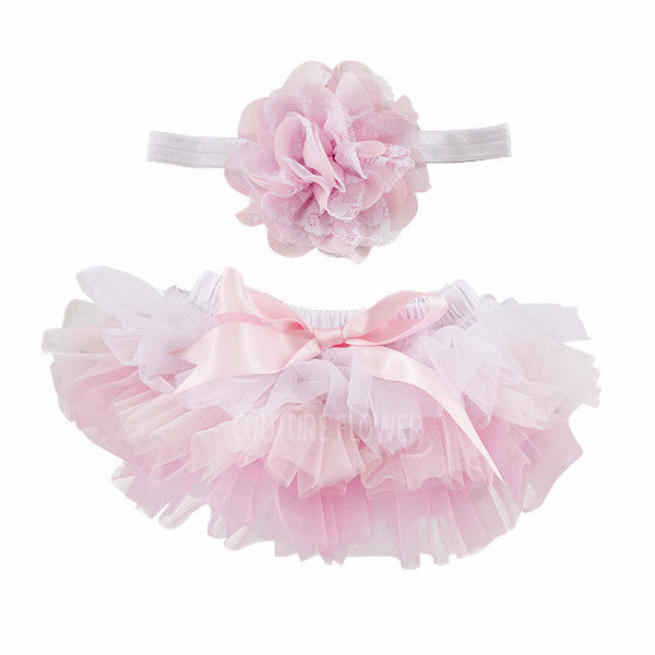 Pink Ombre Tutu Bloomer & Headband Set