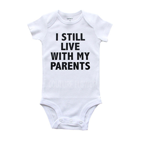 """I Still With My Parents"" White Bodysuit"