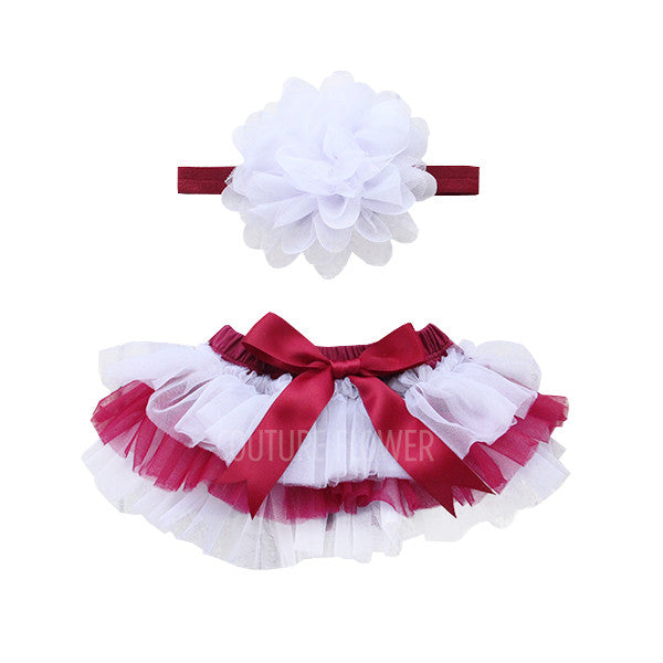 Team Colors Maroon and White Tutu Bloomer & Headband Set