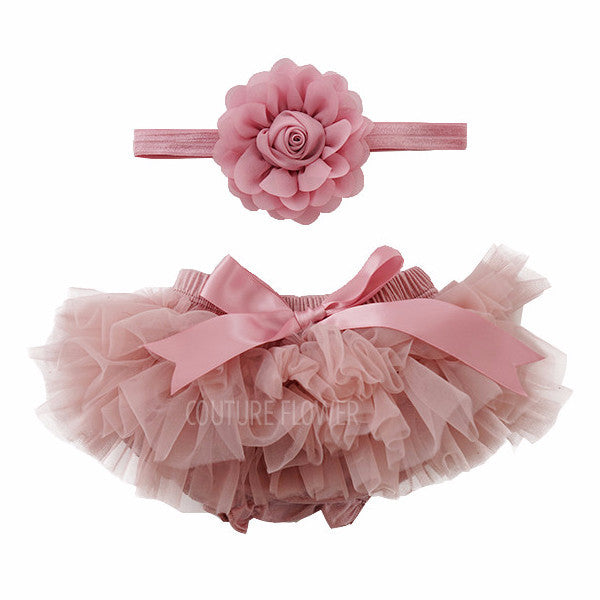 Mauve Tutu Bloomer & Headband Set
