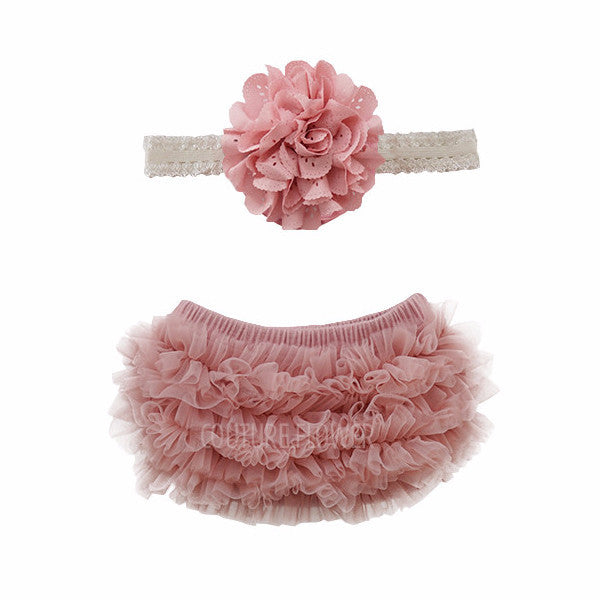 Mauve Ruffle Bottom Bloomer & Headband Set